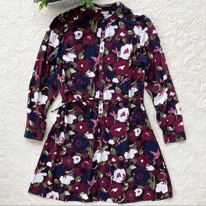 Merona maroon navy long sleeve moody floral dress